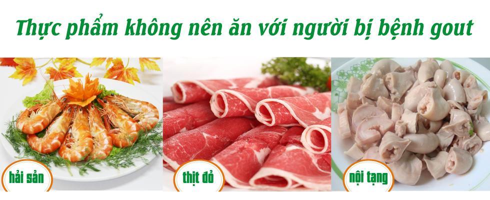 Người bệnh gout nên kiêng những loại thịt đỏ, hải sản và nội tạng động vật
