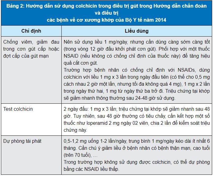 Hướng dẫn sử dụng colchicine điều trị gout của Bộ Y Tế năm 2014